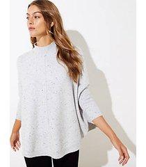 loft flecked mock neck poncho sweater