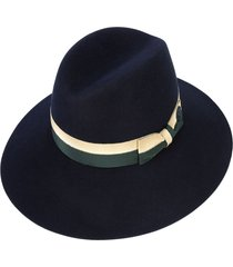 maison michel two-tone bow fedora hat - blue