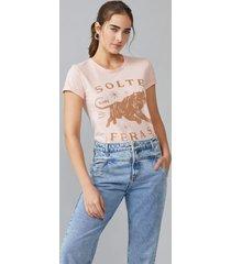t-shirt amaro slim fit solte suas feras rosa claro - rosa - feminino - dafiti