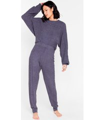 womens chenille the love sweater and joggers pajamas set - charcoal