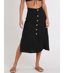 saia feminina midi com botões e fenda preta