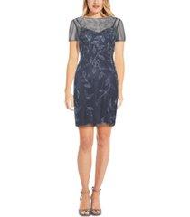 adrianna papell embellished boat-neck dress