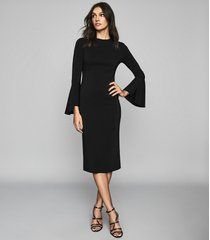 reiss annie - flute sleeve bodycon dress in black, womens, size 12