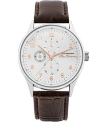 ben sherman men's brown synthetic leather strap multifunction watch, 41mm