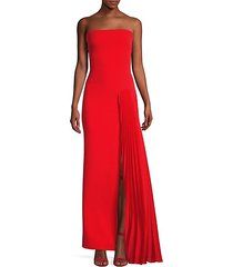 dolly strapless side pleated gown