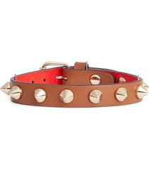 christian louboutin loublink studded leather bracelet in biscotto/gold at nordstrom