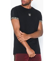 siksilk raglan straight hem tape gym tee t-shirts & linnen black/gold