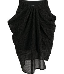 balmain monogram draped skirt - black