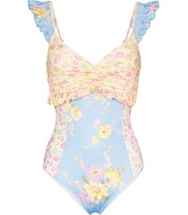 loveshackfancy verena floral print ruffled swimsuit - blue