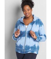 lane bryant women's livi zip-front hoodie - tie-dye 14/16 moonlight blue