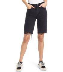 women's paige robbie high waist cutoff denim shorts, size 30 - black