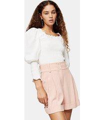 blush pink stripe shorts with linen - blush