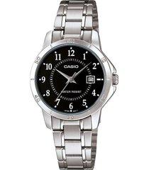 reloj casio dama ltp v004d 1a original calendario - negro