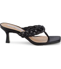 saks fifth avenue women's braided thong leather heeled sandals - black - size 8
