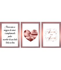 kit 3 quadros decorativos com moldura rose para sala quarto casal - tricae