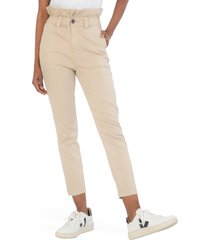 women's kut from the kloth rachael paperbag waist ankle pants, size 10 - beige