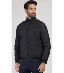 jaqueta masculina acolchoada em nylon com bolsos gola alta preta