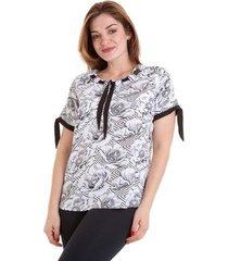 blusa viscose kinara gola com fita feminina