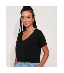 camiseta feminina básica cropped manga curta decote v preta