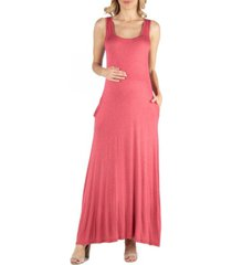 24seven comfort apparel scoop neck sleeveless maternity maxi dress with pockets