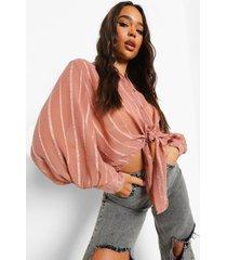 opgeknoopte blouse met volle mouwen en textuur, dusty rose