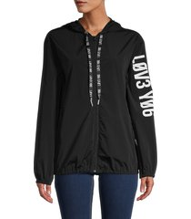 redvalentino women's hooded sport jacket - nero - size 40 (8)