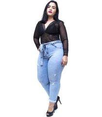calça jeans feminina cambos plus size skinny gilcimara