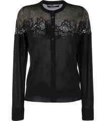 dolce & gabbana lace detailed cardigan - black