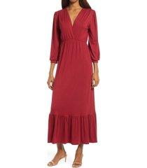 women's fraiche by j v-neck midi dress, size large - burgundy