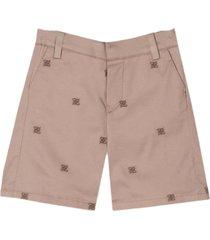 fendi karligraphy beige cotton shorts