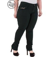 calça jeans plus size - confidencial extra reta verde