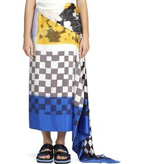 scarf print silk wrap skirt