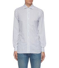 'milano' duo-tone stripe spread collar cotton shirt