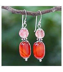 carnelian and quartz dangle earrings, 'tangerine day' (thailand)