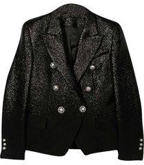 balmain black metallic blazer.