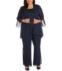 r & m richards plus size 3-pc. jacket, top & pants set