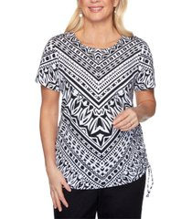 alfred dunner checkmate geo-print knit top