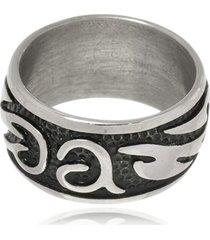 anel boca santa arabescos em aço inox -  - kanui