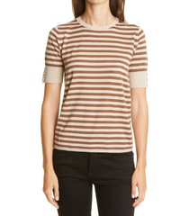 women's max mara stagno stripe silk & cashmere sweater t-shirt, size large - brown