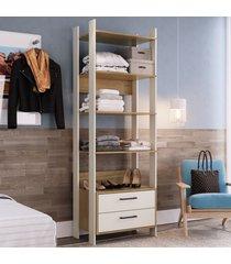 closet 2 gavetas 4 prateleiras cla1003 off white/itapua - completa móveis