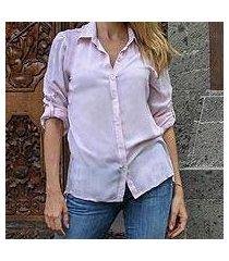 rayon hi-low shirt, 'mutiara peach' (indonesia)