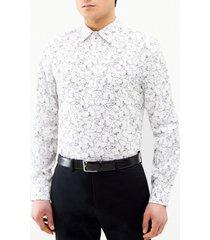 camisa estampada flores blanca perry ellis