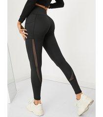 leggings deportivos de cintura alta con costuras de malla