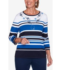 women's plus size vacation mode multi-striped sweater