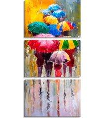 conjunto pump up de 3 telas decorativas estilo pintura people guarda-chuvas  - montada: 185x90cm (a-l) unico amarelo