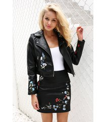 womens floral embroidery biker jacket hollow faux leather ladies zip coat pu