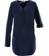 tunica in viscosa con scollo a v a maniche lunghe (blu) - bpc bonprix collection