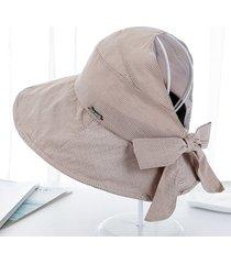 a cuadros arco visera sombreros de verano para las mujeres plegables gran