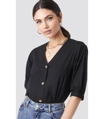 na-kd trend button short sleeve blouse - black