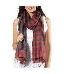 reversible silk shawl, 'coral enchantment' (india)